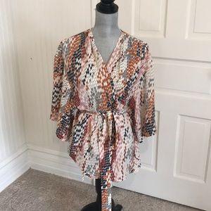 NWT Trouve kimono belted blouse sz L